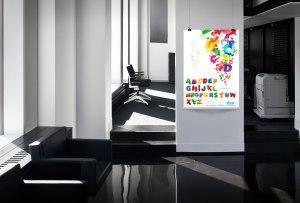 mock up desain Poster Belajar 8