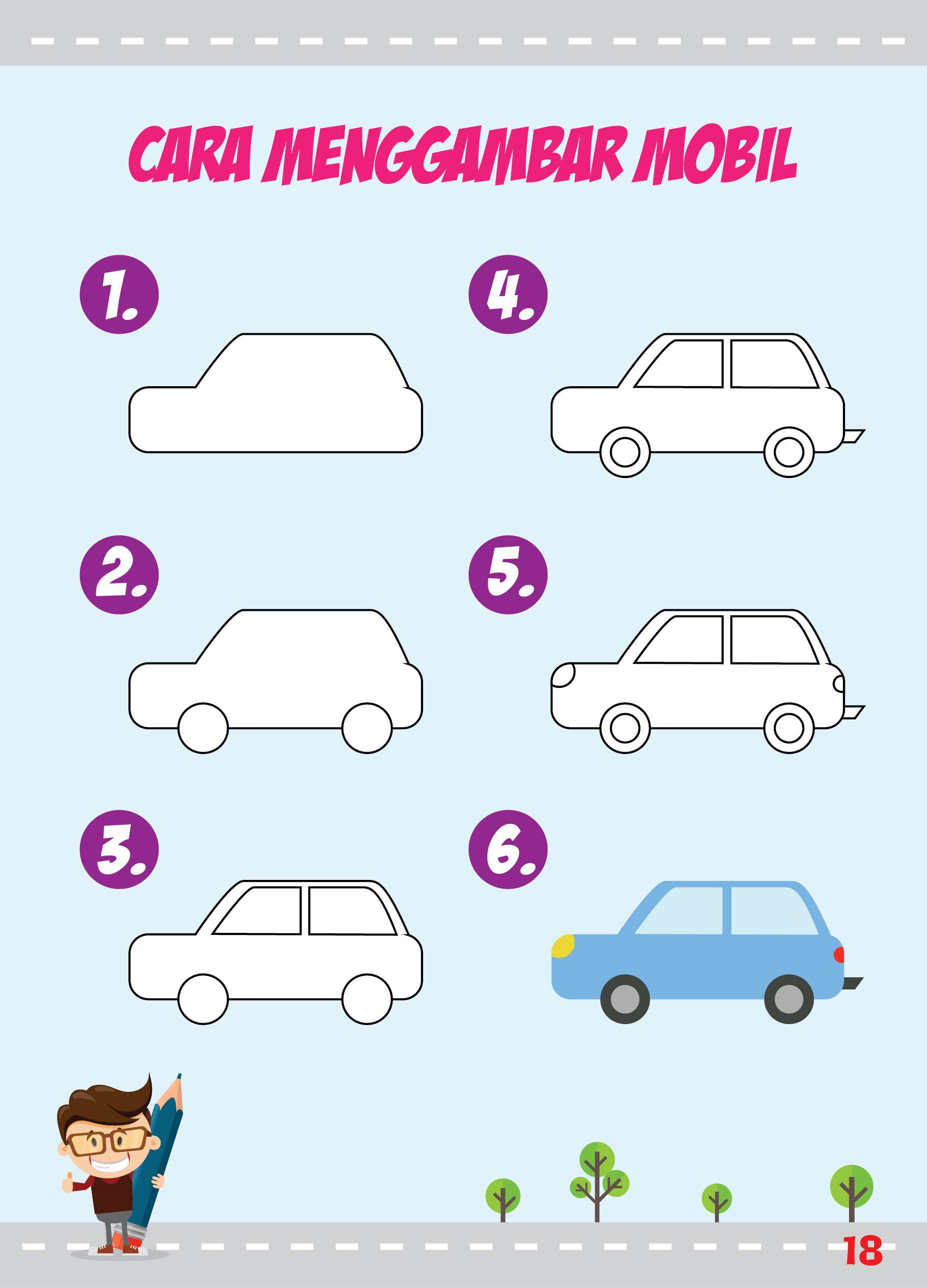 Cara Menggambar Mobil mister bean untuk anak tk