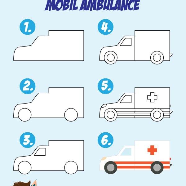Cara Menggambar Mobil ambulan untuk anak tk