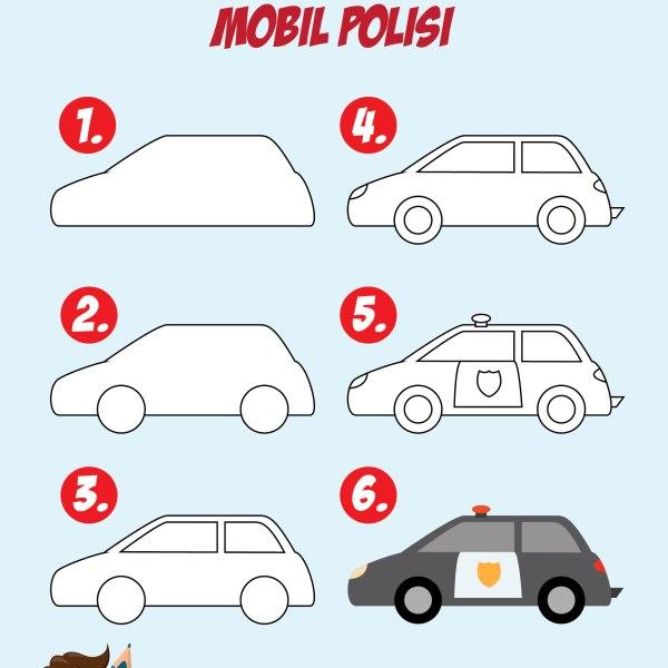 Cara Menggambar Mobil polisi untuk anak tk